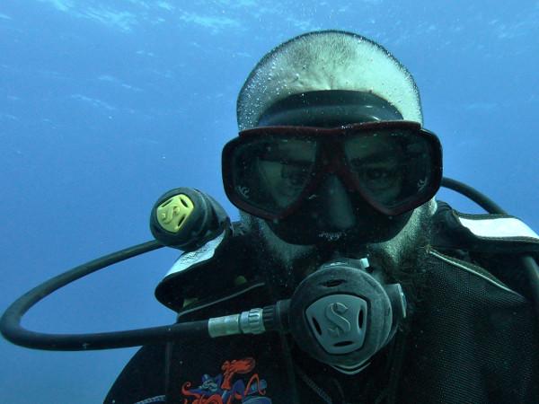 beard and scuba diving