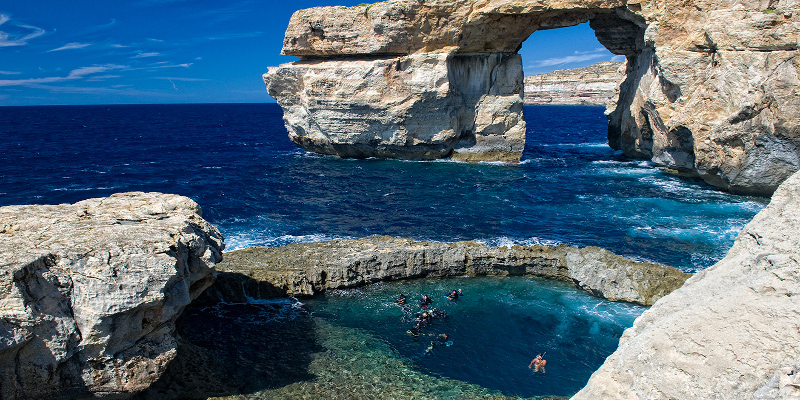 Blue hole of Gozo, considered as the best cave dive spot in Malta
