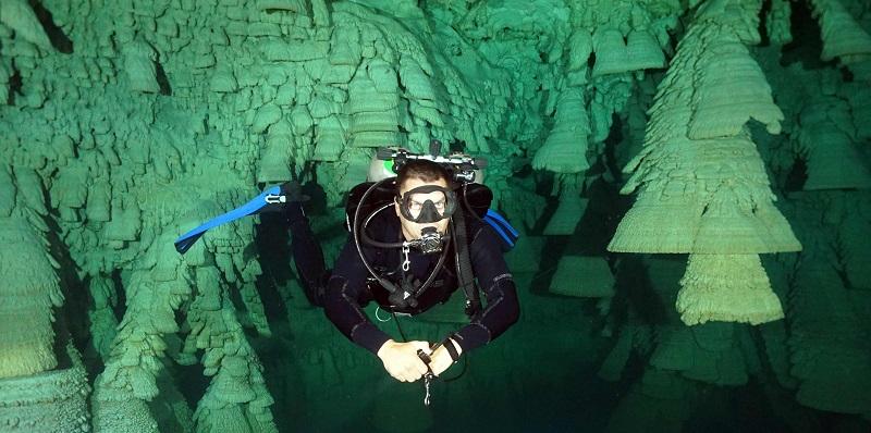 photo hd du site de plongée sous marine Cenote Zapote au mexique
