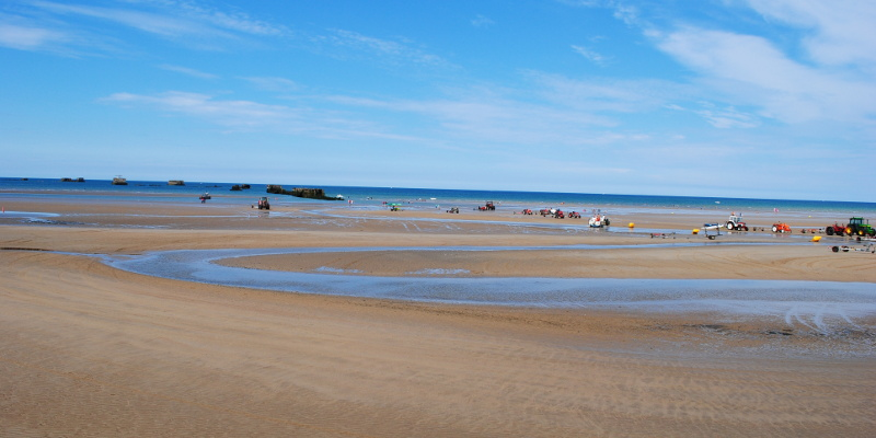 D-day beach and beautiful wrecks of Normandy