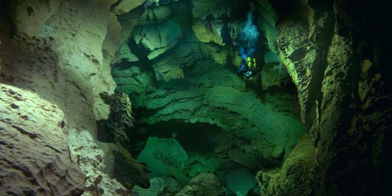 limestone cave in France, cave diving
