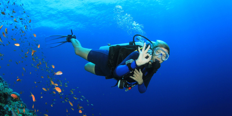 scuba diving, against stress